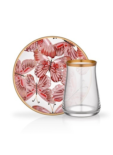 Glore Venüs Kırmızı 6 Kişilik Çay Set Renkli